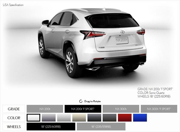 レクサスNXの各グレードのカラーリングをシミュレーションしてみる