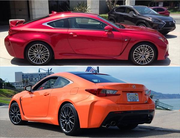 赤とオレンジのレクサスRCF どちらが好み?